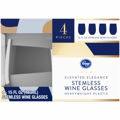 Kroger® Elevated Elegance Heavyweight Plastic Stemless Wine Glasses Perspective: right
