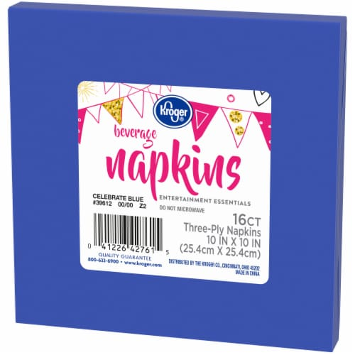 Kroger® Entertainment Essentials Beverage Napkins - 16 Pack - Celebrate Blue Perspective: right