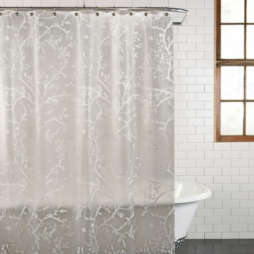 Everyday Living Langley Floral Shower Curtain - White Perspective: right