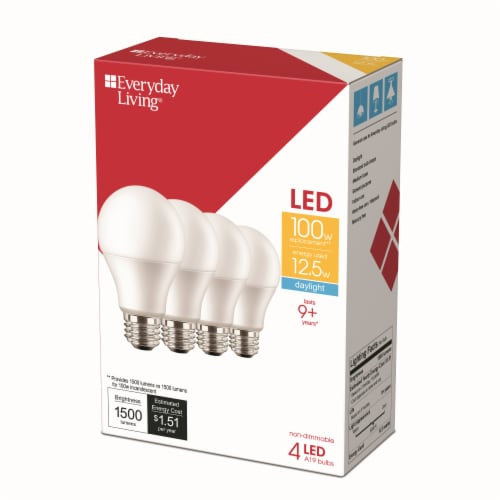 Everyday Living® 12.5 Watt (100 Watt) Daylight A19 LED Light Bulbs Perspective: right