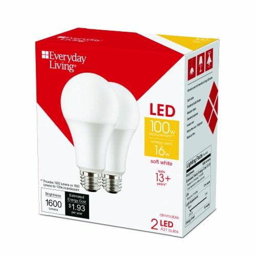 Everyday Living® 16-Watt (100-Watt) A21 Soft White LED Light Bulbs Perspective: right