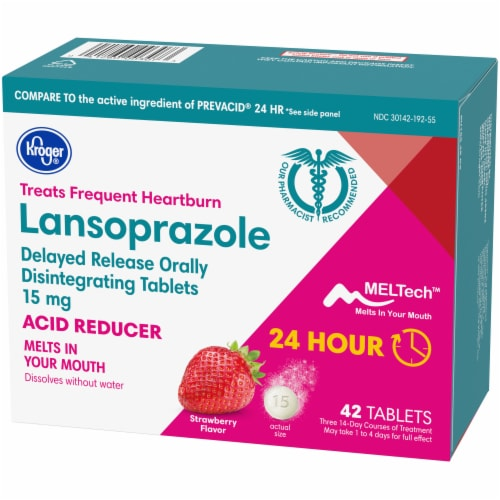 Kroger® Strawberry Flavor Lansoprazole Acid Reducer Tablets Perspective: right