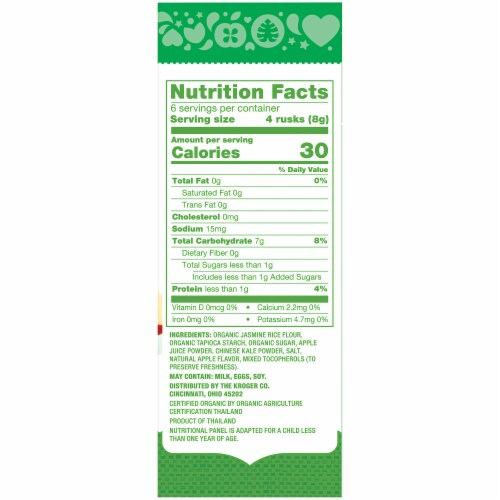 Simple Truth Organic™ Rice Rusks Apple & Kale Baby Teething Wafers Packs 12 Count Perspective: right
