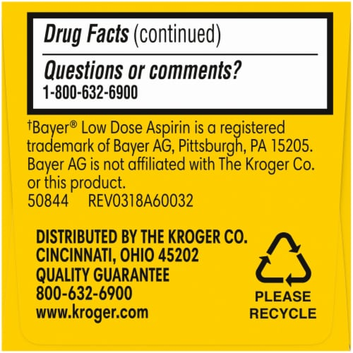 Kroger® Adult Low Dose Coated Aspirin Tablets 81mg Perspective: right