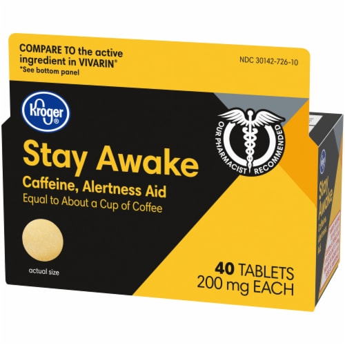 Kroger® Stay Awake Caffeine Tablets 200mg Perspective: right