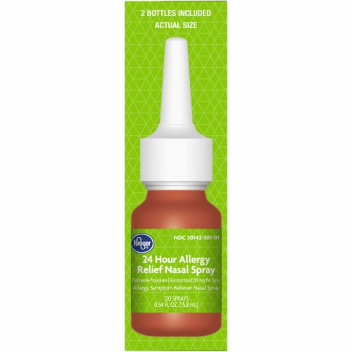 Kroger® 24 Hour Allergy Relief Nasal Spray 2-0.54 fl oz Bottles Perspective: right