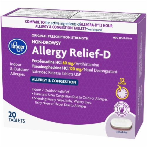 Kroger® Non-Drowsy Allergy Relief-D Tablets 120mg Perspective: right