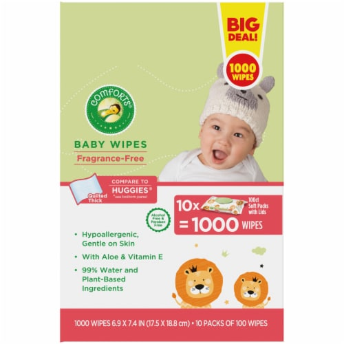 Comforts Fragrance-Free Baby Wipes Soft Packs Perspective: right