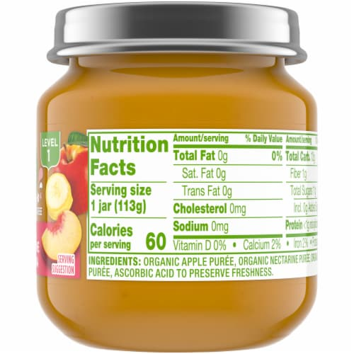 Simple Truth Organic® Apple Nectarine and Banana Baby Food Jar Perspective: right