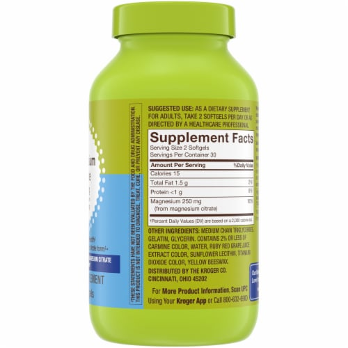 Kroger® Magnesium Citrate Softgels 250mg Perspective: right
