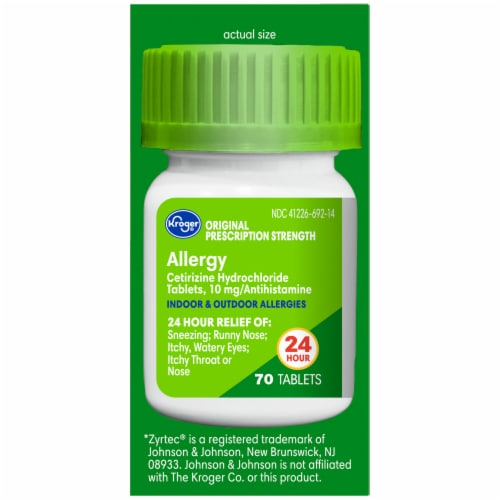 Kroger® 24 Hour Indoor & Outdoor Allergy Tablets 10mg Perspective: right
