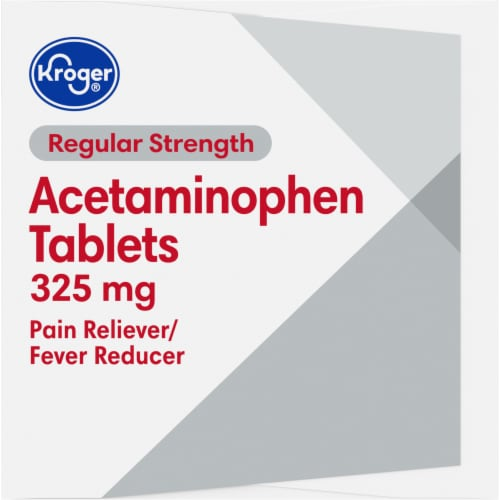 Kroger® Regular Strength Acetaminophen Pain Reliever & Fever Reducer Tablets 325mg Perspective: right