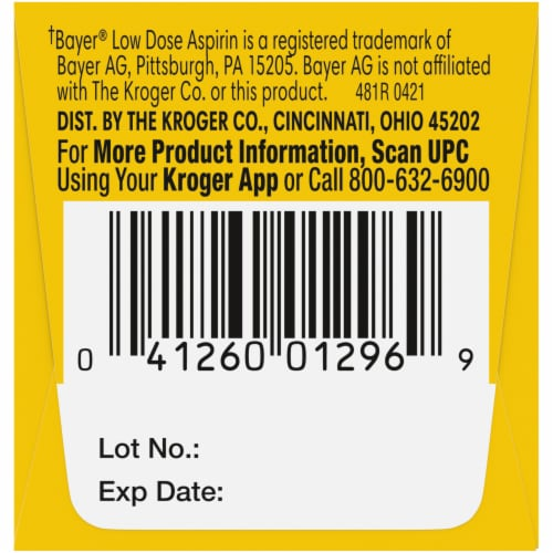 Kroger® Low Dose Aspirin Delayed-Release Tablets 81mg Perspective: right