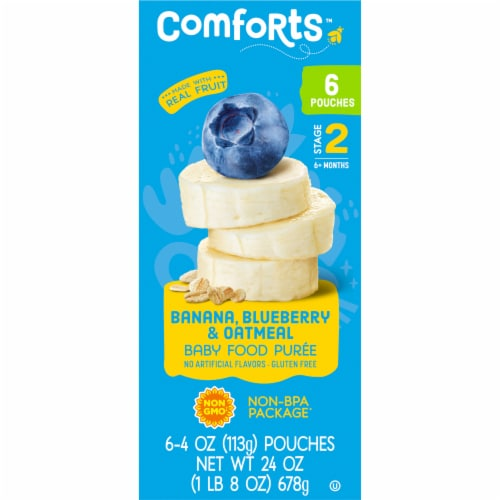 Comforts Banana Blueberry & Oatmeal Stage 2 Baby Food Perspective: right
