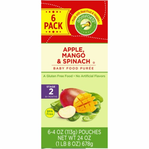 Comforts Apple Mango & Spinach Stage 2 Baby Food Perspective: right