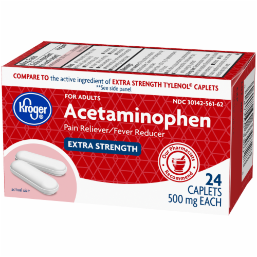 Kroger® Extra Strength Acetaminophen Pain Reliever & Fever Reducer Caplets 500mg Perspective: right