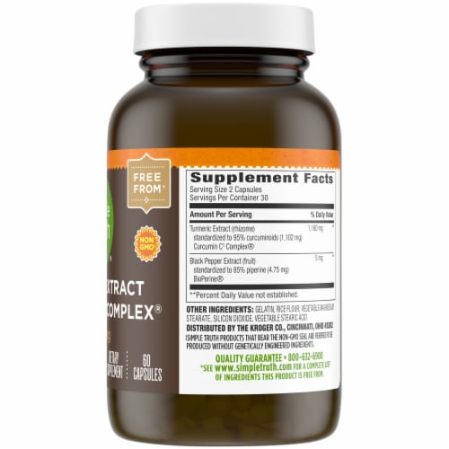 Simple Truth® 1160 mg Turmeric Extract Curcumin C3 Complex Capsules Perspective: right