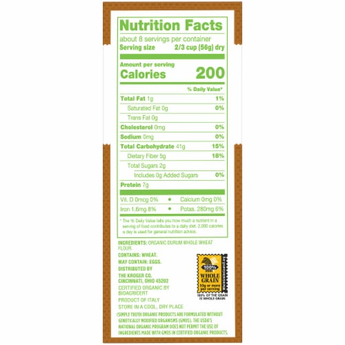 Simple Truth Organic™ 100% Whole Wheat Penne Rigate Pasta Perspective: right