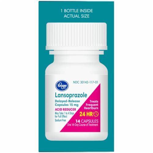Kroger® Lansoprazole Acid Reducer Delayed Release Capsules 15mg Perspective: right