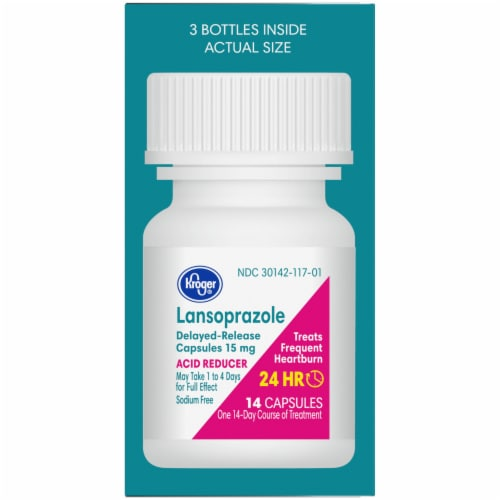Kroger® Lansoprazole 24 Hour Acid Reducer Delayed Release Capsules 15mg Perspective: right