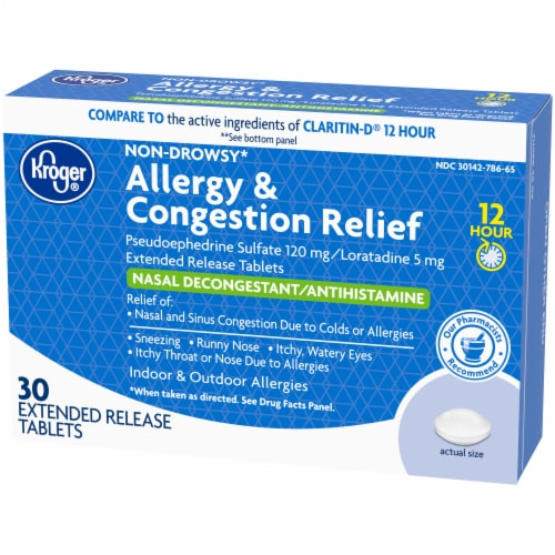 Kroger® 12 Hour Allergy & Congestion Relief Tablets Perspective: right