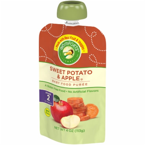 Comforts™ Sweet Potato & Apple Stage 2 Baby Food Puree Pouch Perspective: right