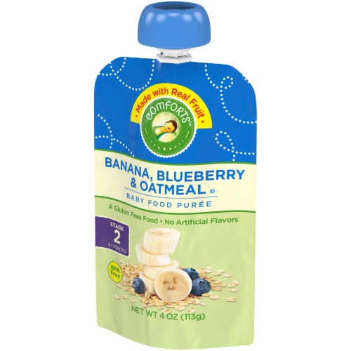 Comforts™ Banana Blueberry & Oatmeal Puree Stage 2 Baby Food Perspective: right