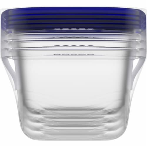 Kroger® Medium Square Food Containers with Lids - Clear/Blue Perspective: right
