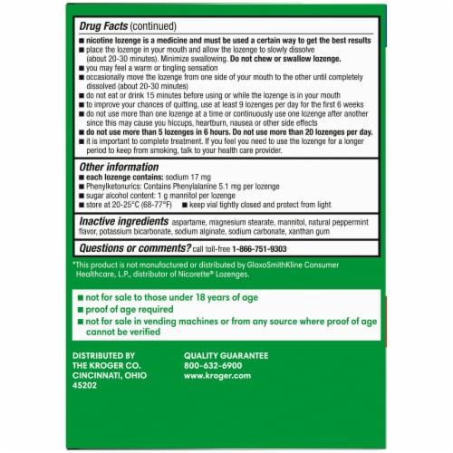 Kroger® Mint Flavor Nicotine Lozenges 4mg Perspective: right