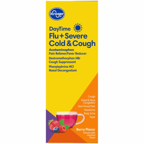 Kroger® Berry Flavor DayTime Flu + Severe Cold A& Cough Power Packets Perspective: right