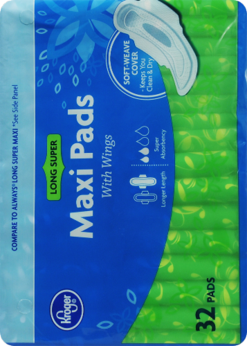 Kroger® Super Long with Wings Maxi Pads Perspective: right