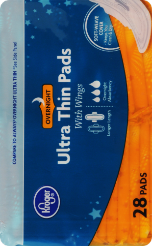 Kroger® Ultra Thin Overnight With Wings Pads Perspective: right
