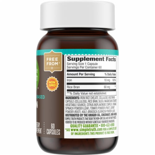 Simple Truth™ Whole Food Based Iron Capsules Bottle Perspective: right