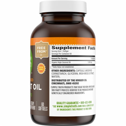 Simple Truth™ Plant Based Coconut Oil Softgels 1000mg Perspective: right