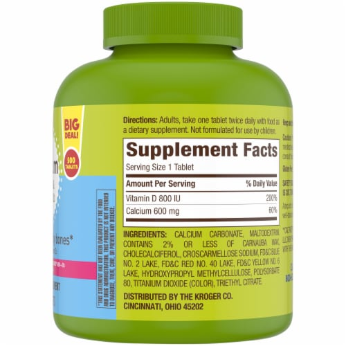 Kroger® Calcium 600 mg & Vitamin D3 Tablets Bottle Perspective: right
