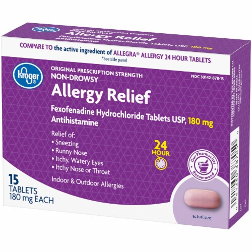 Kroger® 24 Hour Non-Drowsy Allergy Relief 180 mg Tablets Perspective: right