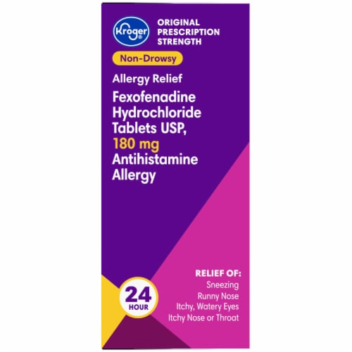 Kroger® 24 Hour Non-Drowsy Allergy Relief Tablets 180mg Perspective: right