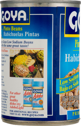 Goya Low Sodium Gluten Free Pinto Beans Perspective: right