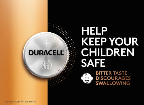 Duracell 2032 Lithium Coin Battery Perspective: right