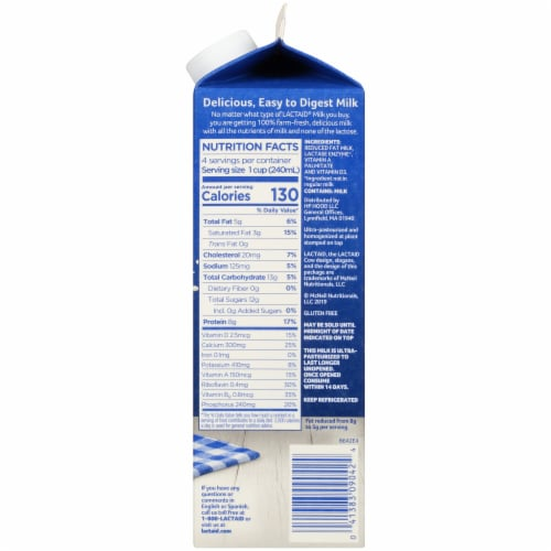Lactaid 100% Lactose Free 2% Reduced Fat Milk Perspective: right