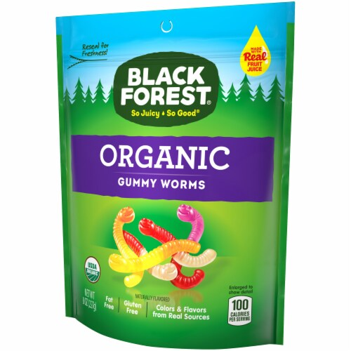 Black Forest Organic Gummy Worms Perspective: right