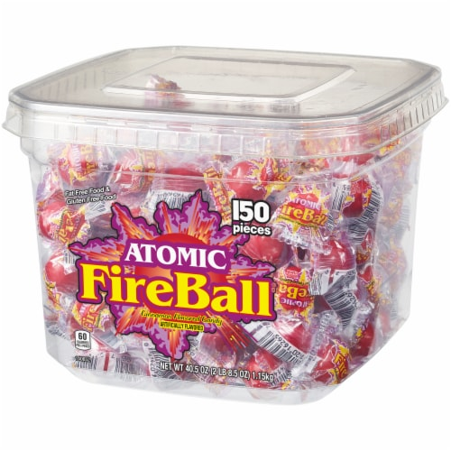Atomic Fireball Cinnamon Flavored Candy Tub Perspective: right