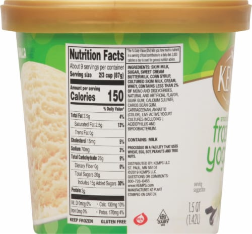 Kemps Smooth & Creamy Vanilla Frozen Yogurt Perspective: right