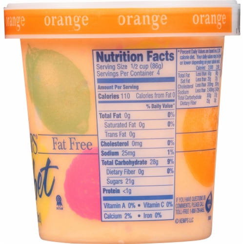 Kemps Fat Free Orange Sherbet Perspective: right