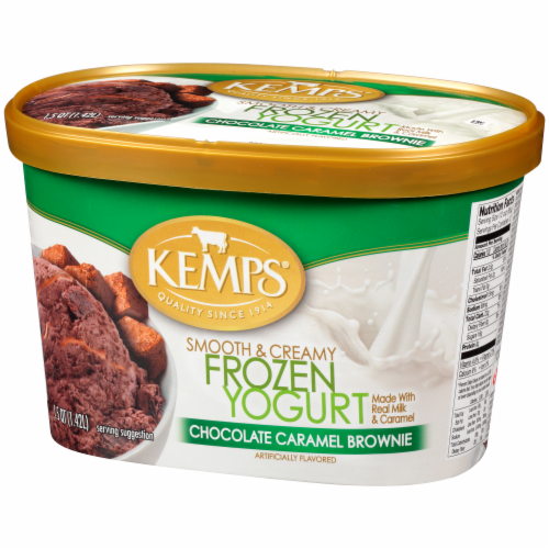 Kemps Smooth & Creamy Chocolate Caramel Brownie Frozen Yogurt Perspective: right
