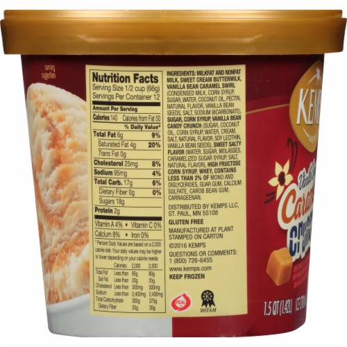 Kemps Vanilla Bean Caramel Crunch Ice Cream Perspective: right