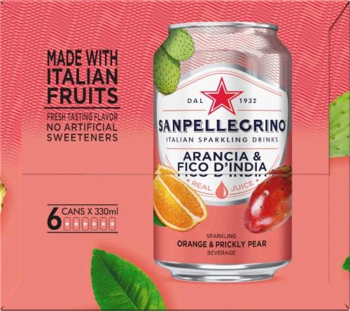 S. Pellegrino Sparkling Prickly Pear & Orange Beverage 6 Count Perspective: right