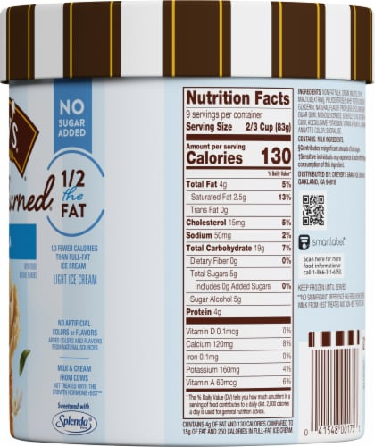 Dreyer's/Edy's Slow Churned No Sugar Added Vanilla Light Ice Cream Perspective: right