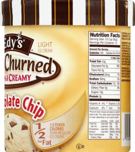 Dreyer's/Edy's Slow Churned Chocolate Chip Light Ice Cream Perspective: right