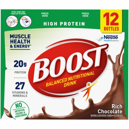 Boost High Protein Rich Chocolate Nutritional Drinks Perspective: right